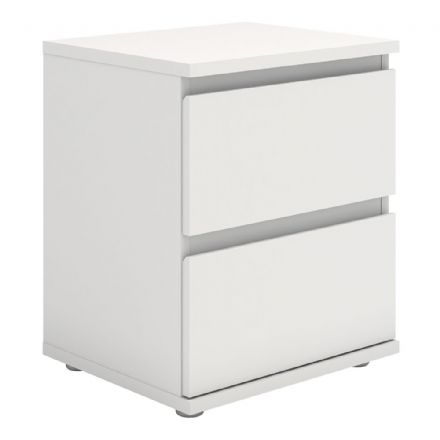 Bedside 2 Drawer in White